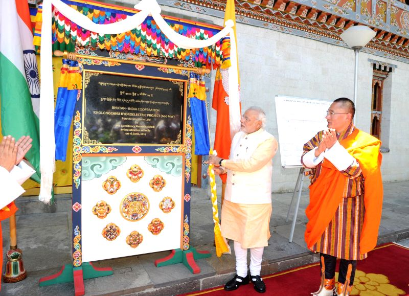 Prime Minister, Shri Narendra Modi unveiling the plaque to lay the foundation stone of Bhutan-India Cooperation Kholongchhu Hydroelectric Project (600MW), in Thimphu, Bhutan on June 16, 2014. - Shri Narendra Modi