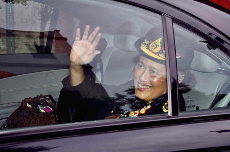 Princess of Thailand Maha Chakri Sirindhorn leaves after visiting Jorasanko Thakur Bari in Kolkata on July 22, 2014.