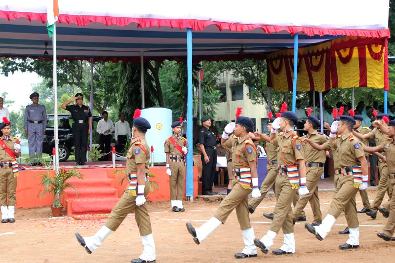 Principal of Purulia Sainik School Lt Col PS Lata during Independence Day parade at the school which is the alma mater of Chief of Air Staff, Air Chief Marshal Arup Raha, in Purulia of West Bengal.