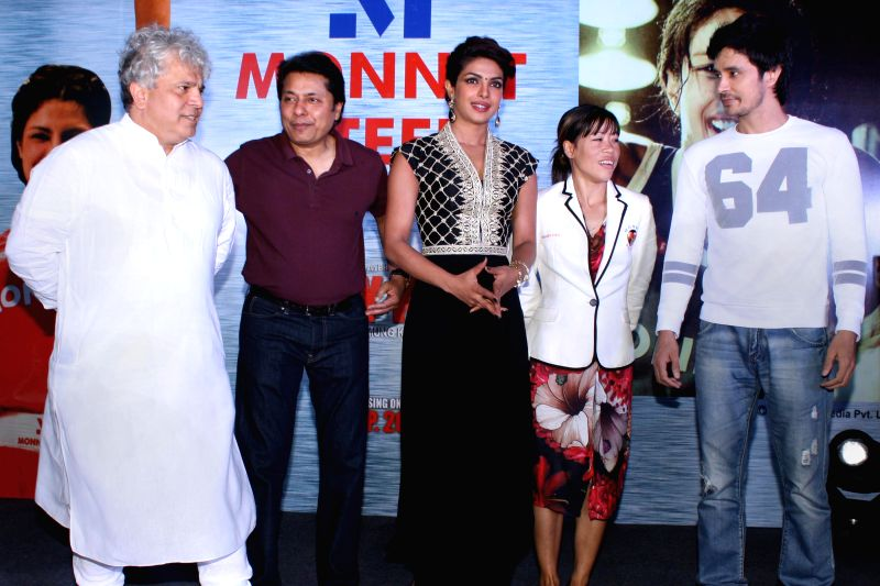 "Priyanka Chopra and Mary Kom at the  launch of ""Mary Kom Doll"" of their latest hindi film ""Mary Kom""at Ambience Mall, in New Delhi on 02 September 2014."