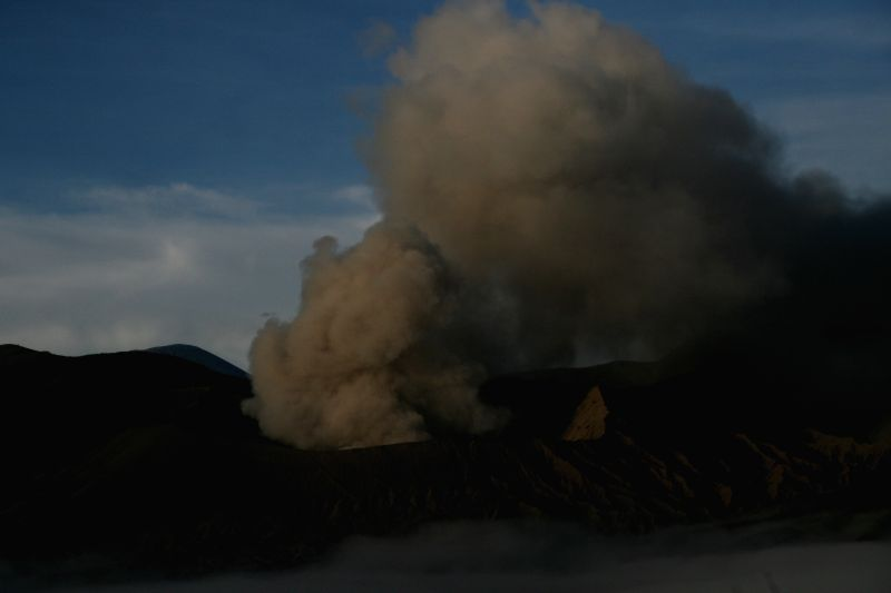 PROBOLINGGO, July 20, 2016 - Photo taken on July 20, 2016 shows Mount Bromo spews ashes into the air during a volcanic eruption at Probolinggo, Indonesia. The volcano spewed a column of ash by up to ...