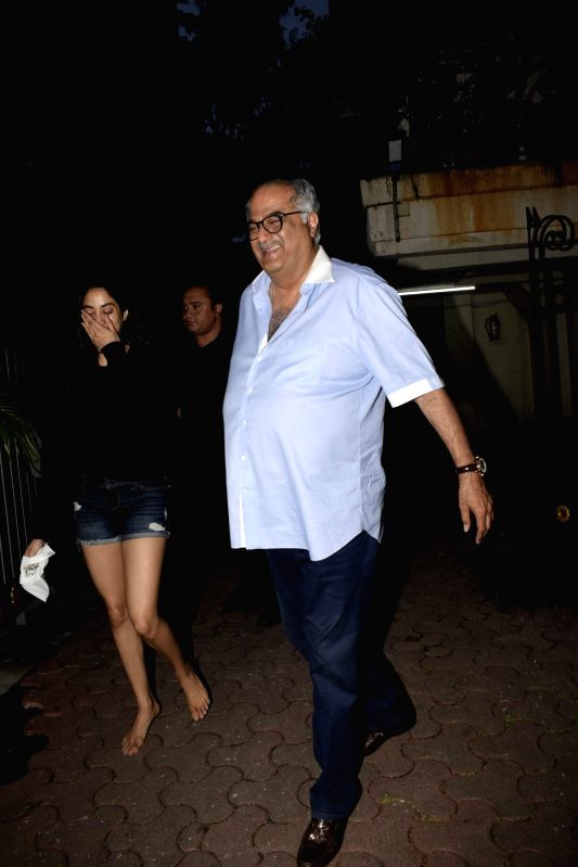 Producer Boney Kapoor along with his daughter Janhvi Kapoor seen at actor Arjun Kapoor's residence on July 25, 2018. - Arjun Kapoor, Boney Kapoor and Janhvi Kapoor