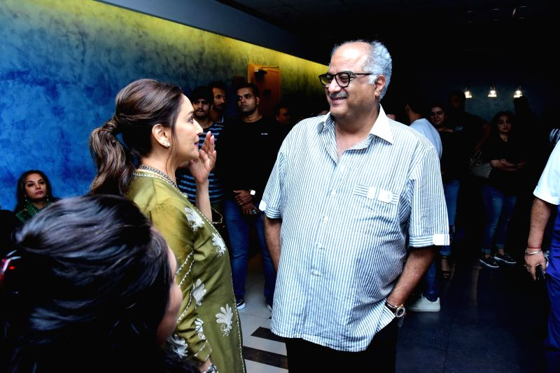 "Producer Boney Kapoor and actress Madhuri Dixit Nene at the special screening of her film ""Fanney Khan"" in Mumbai on Aug 2, 2018. - Madhuri Dixit Nene, Boney Kapoor and Fanney Khan"