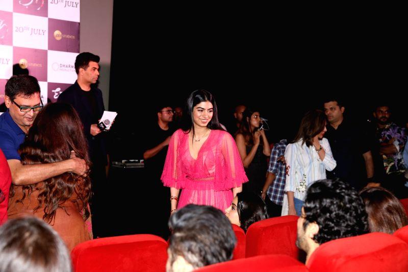 "Producer Boney Kapoor's daughter Khushi Kapoor at the trailer launch of upcoming film ""Dhadak"" in Mumbai on June 11, 2018. - Boney Kapoor and Khushi Kapoor"