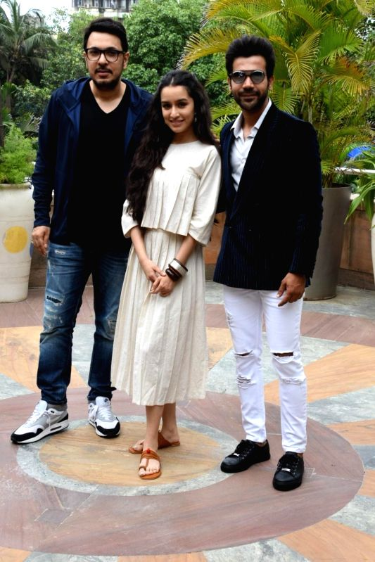 "Producer Dinesh Vijan and actors Rajkummar Rao and Shraddha Kapoor at the promotion of their upcoming film ""Stree"" in Mumbai on Aug 7, 2018. - Rajkummar Rao and Shraddha Kapoor"