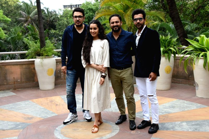 "Producer Dinesh Vijan, director Amar Kaushik, actors Rajkummar Rao and Shraddha Kapoor at the promotion of their upcoming film ""Stree"" in Mumbai on Aug 7, 2018. - Amar Kaushik, Rajkummar Rao and Shraddha Kapoor"