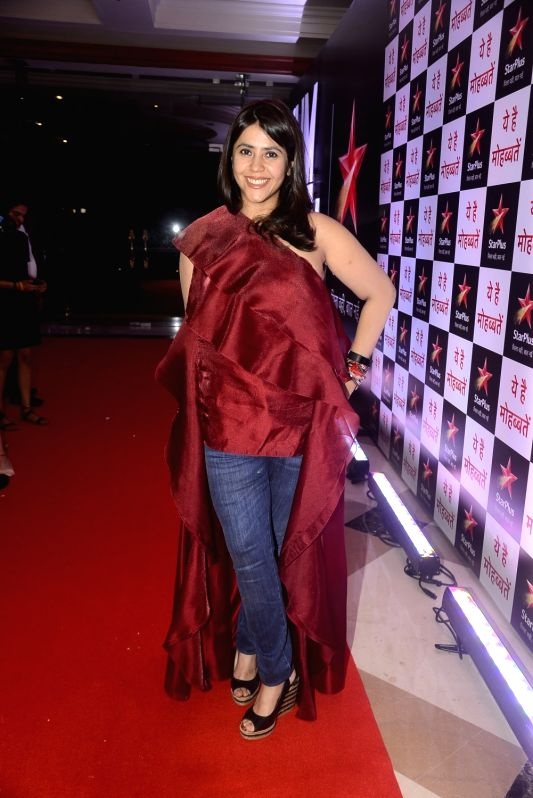 "Producer Ekta Kapoor during the celebration of her television show ""Yeh Hai Mohabbatein"" completes 1500 episodes in Mumbai on July 25, 2018. - Ekta Kapoor"