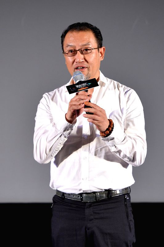 """Producer of the animation """"Mr. Black: Green Star"""" Qian Jianping speaks during the premiere in Beijing, capital of China, Aug. 2, 2015. The animation is ..."""