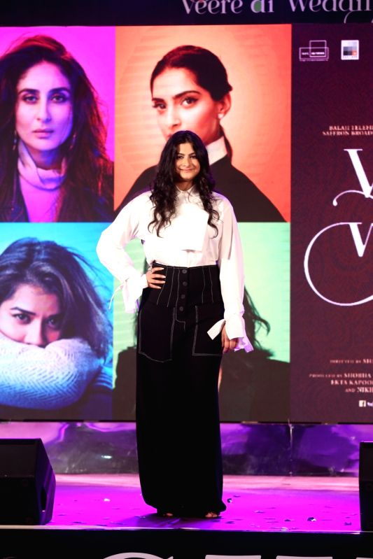 """Producer Rhea Kapoor at the music launch of her upcoming film """"Veere Di Wedding"""" in Mumbai on May 22, 2018."""