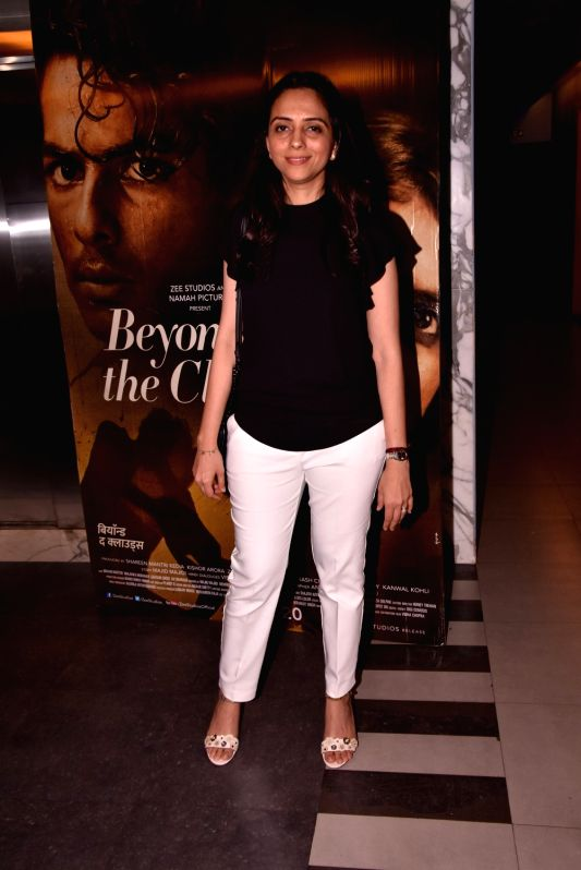 "Producer Shareen Mantri at the special screening of upcoming film ""Beyond the Clouds"" in Mumbai on April 18, 2018."