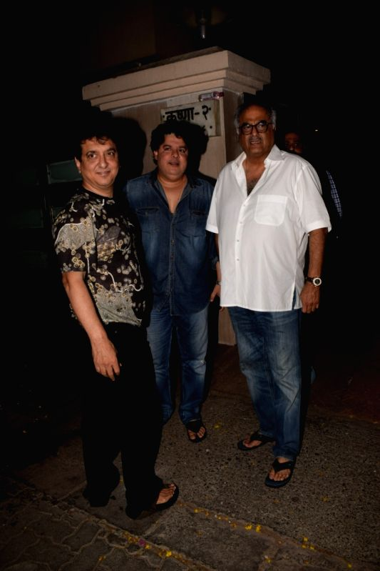 Producers Sajid Nadiadwala, Boney Kapoor and filmmaker Sajid Khan seen at producer Ekta Kapoor's residence in Mumbai on April 13, 2018 . - Ekta Kapoor and Sajid Khan