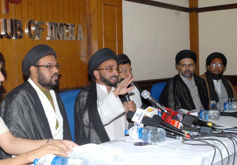 Prominent Ulemas of India, Maulana Abid Zaidi, Kalbe Hussain, Maulana Ali Ghazi and Maulana Mohsin Taqvi, and others address a press conference to condemn the desecration of Islamic headgear of ...