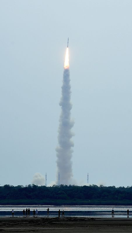 PSLV-C23 - the launch vehicle carrying French Earth Observation Satellite SPOT-7, AISAT of Germany, NLS7.1 (CAN-X4) and NSL7.2 (CAN-X5) of Canada and VELOX-1 of Singapore after taking of from its ...