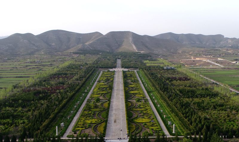 PUCHENG, April 18, 2017 - Aerial photo taken on April 17, 2017 shows the Qiaoling archaeological park in Pucheng County, northwest China's Shaanxi Province. Qiaoling Tomb is for Li Dan, Emperor Rui ...