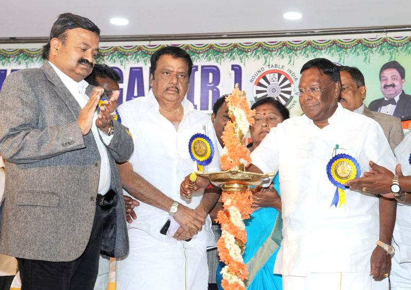 Puducherry Chief Minister V. Narayanasamy at a scholarship distribution programme, in Bengaluru on July 14, 2018. - V. Narayanasamy