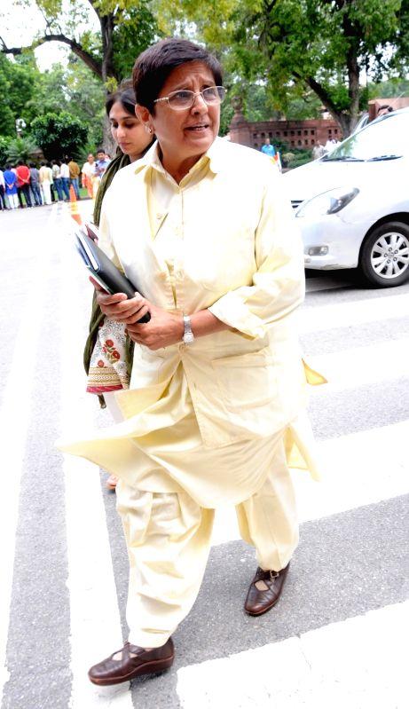 Puducherry Lieutenant Governor Kiran Bedi at Parliament in New Delhi, on July 28, 2016. - Kiran Bedi