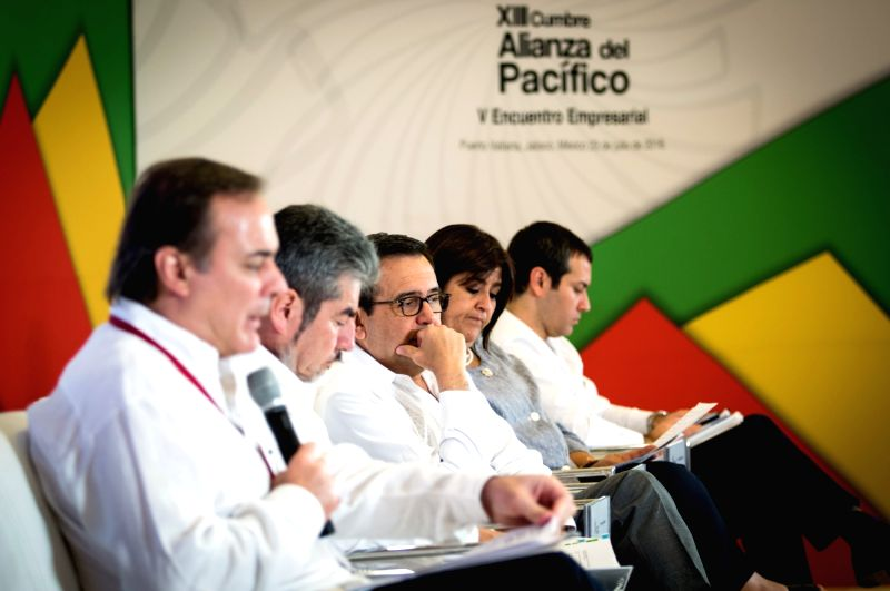 PUERTO VALLARTA, July 24, 2018 - Mexican Minister of Economy Ildefonso Guajardo (C) attends the fifth Business Meeting of the Pacific Alliance in Mexico's western city of Puerto Vallarta, July 23, ...