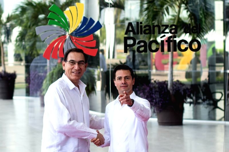 PUERTO VALLARTA, July 25, 2018 - Mexico's President Enrique Pena Nieto (R) and Peru's President Martin Vizcarra pose for photos prior to a meeting during the 13th Pacific Alliance Summit in Puerto ...