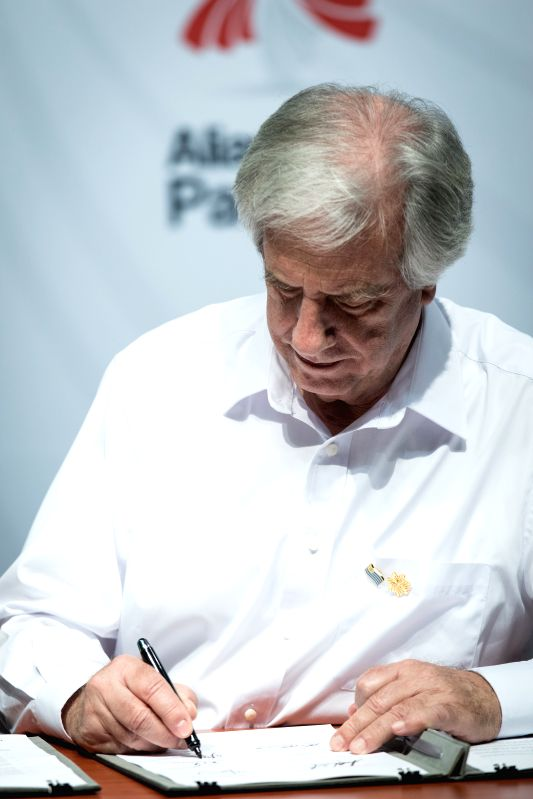 PUERTO VALLARTA, July 25, 2018 - Uruguay's President Tabare Vazquez signs a joint declaration at a press conference during the 13th Pacific Alliance Summit in Puerto Vallarta, Mexico, on July 24, ...