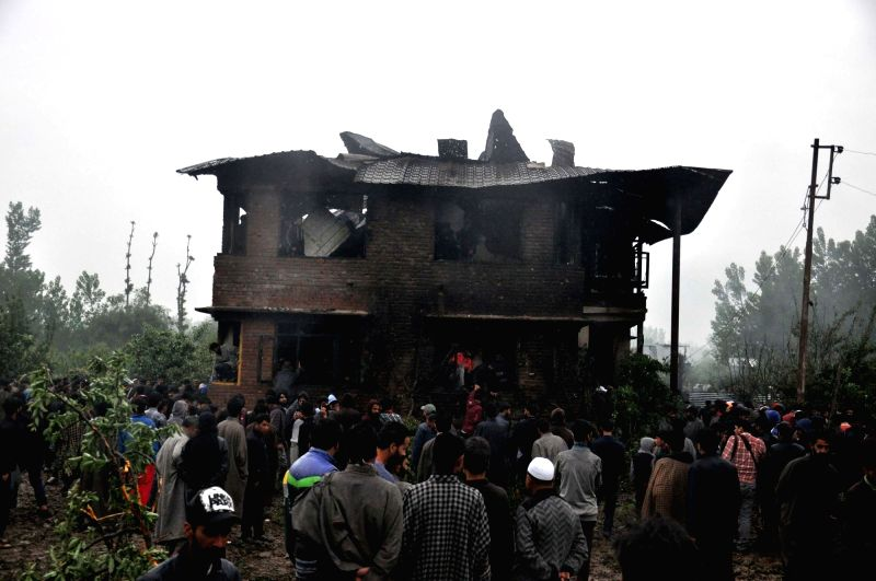 Pulwama: Locals gather at the site where Kashmir's most wanted militant commander Zakir Musa, who headed the Al Qaeda affiliate Ansar Gazwatul Hind, was killed by security forces after they had launched a cordon and search operation in Dadsara villag