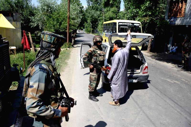 : Pulwama: Security beefed up after militants abducted an Indian Army soldier from Jammu and Kashmir's Shopian district; in Pulwama on June 14, 2018. (Photo: IANS).