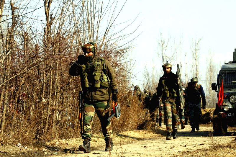 Pulwama: Security personnel during search operations after six Kashmiri militants of the Al Qaeda-affiliate Zakir Musa group, Ansar Ghazwatul Hind, were gunned down by security forces in an encounter in Tral area of Jammu and Kashmir's Pulwama distri