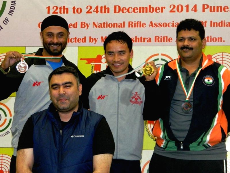 Ace shooter Gagan Narang during 58th National Shooting Championship Competitions (NSCC) 2014 at the Balewadi shooting Range in Pune, on Dec 16, 2014.
