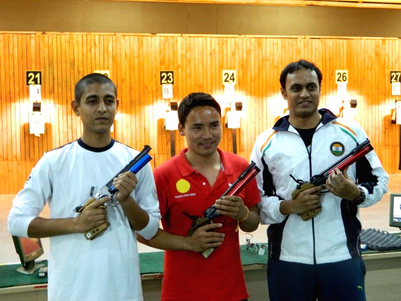 Ace shooter Jitu Rai during 58th National Shooting Championship Competitions (NSCC) 2014 at the Balewadi shooting Range in Pune, on Dec 16, 2014.