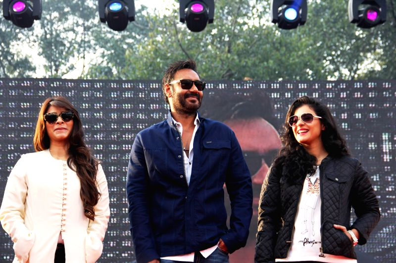 Actors Ajay Devgn, Kajol and Tanisha during a programme in Pune on Dec 21, 2014.