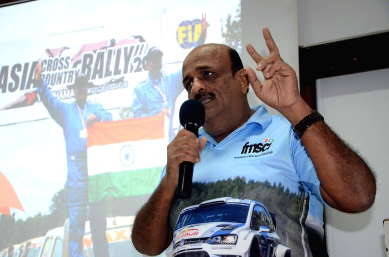 Pune-based rally driver Sanjay Takale who is set to make his World Rally Championship-3 debut at the Neste Rally in Finland next week addresses during a programme in Mumbai on July 20, 2018.