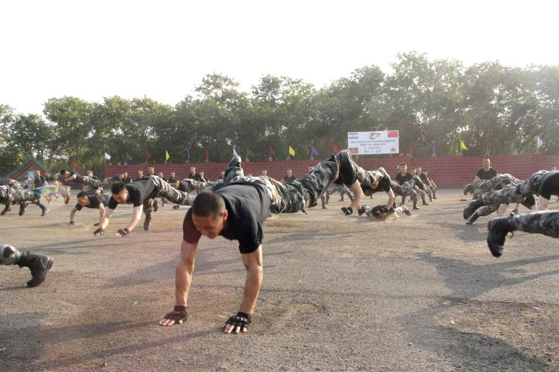 Chinese soldiers during a joint training exercise with their Indian counterparts at Aundh Military Camp in Pune on Nov 18, 2014.