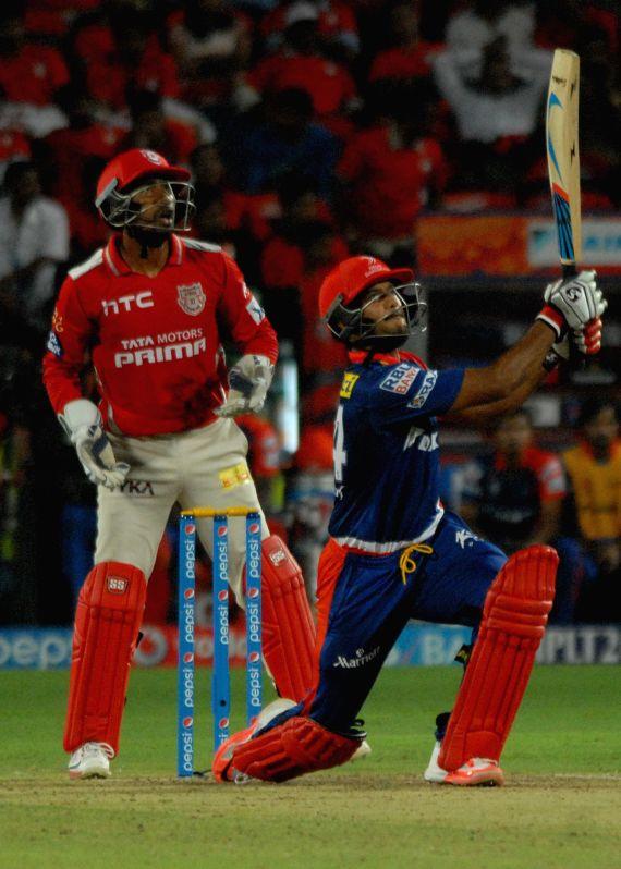 Delhi Daredevils batsman Mayank Agarwal in action during an IPL-2015 match between Delhi Daredevils and Kings XI Punjab at Maharashtra Cricket Association Stadium, in Pune, on April 15, 2015. - Mayank Agarwal
