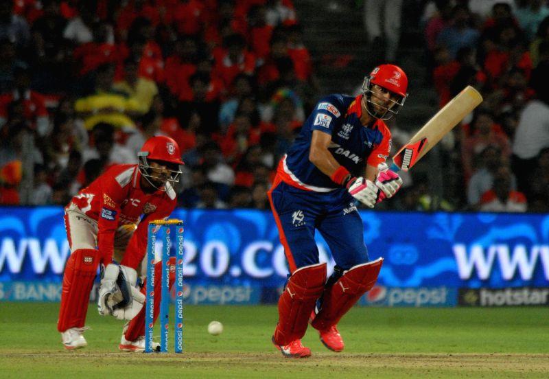 Delhi Daredevils batsman Yuvraj Singh in action during an IPL-2015 match between Delhi Daredevils and Kings XI Punjab at Maharashtra Cricket Association Stadium, in Pune, on April 15, 2015. - Yuvraj Singh