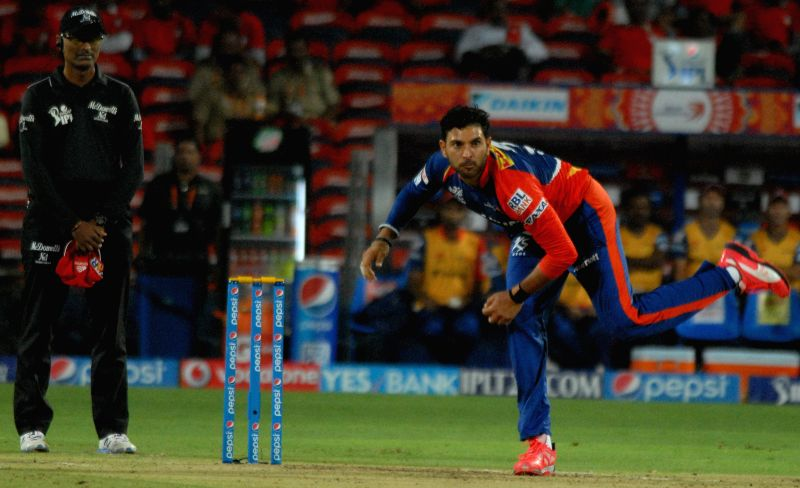 Delhi Daredevils player Yuvraj Singh in action during an IPL-2015 match between Delhi Daredevils and Kings XI Punjab at Maharashtra Cricket Association Stadium, in Pune, on April 15, 2015. - Yuvraj Singh