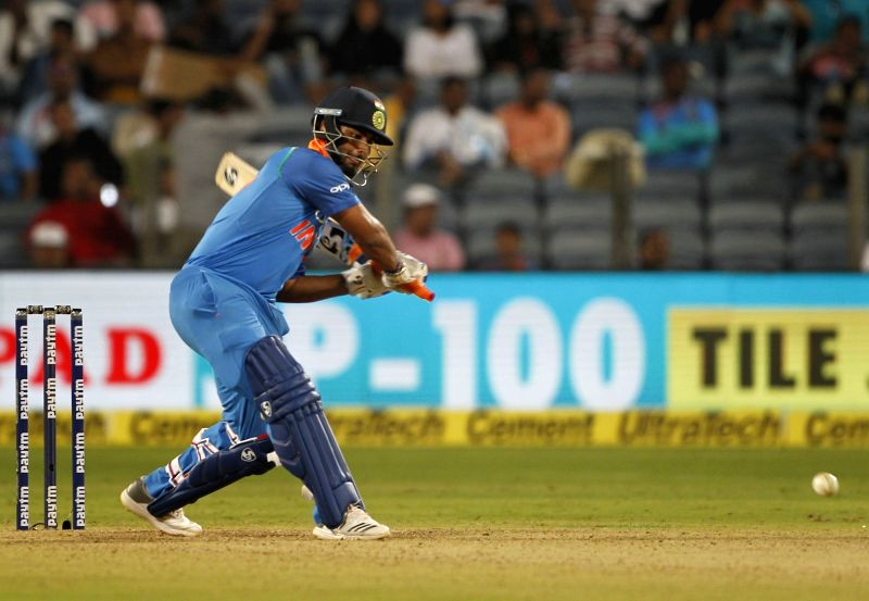 Pune: India's Rishabh Pant in action during the third ODI (One Day International) match between India and West Indies at Maharashtra Cricket Association Stadium in Pune , on Oct 27, 2018. (Photo: Surjeet Yadav/IANS)
