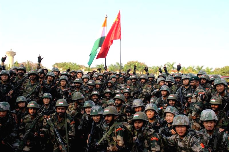 Indian and Chinese soldiers during a joint training exercise at Aundh Military Camp in Pune on Nov 25, 2014.