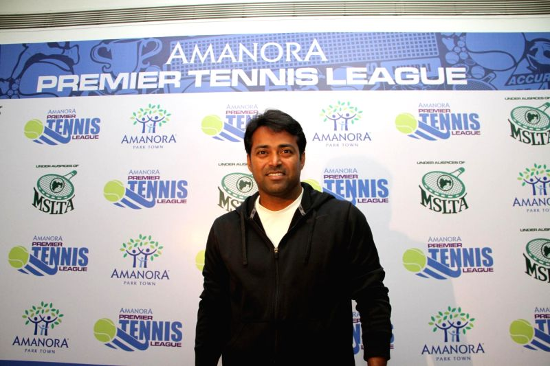 Indian tennis player Leander Paes during a press conference regarding the Premier Tennis League (PTL) in Pune, on Dec 2, 2014. Paes is set to play an exhibition mixed doubles match during the ..