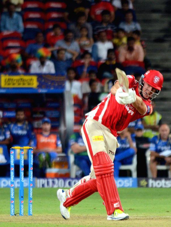 Kings XI Punjab batsman David Miller  in action during an IPL-2015 match between Rajasthan Royals and Kings XI Punjab at Maharashtra Cricket Association Stadium, in Pune, on April 10, 2015. - David Miller