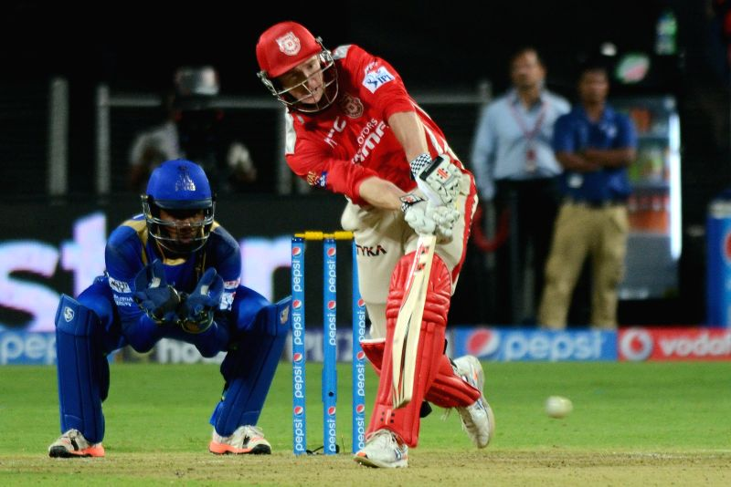 Kings XI Punjab batsman George Bailey in action during an IPL-2015 match between Rajasthan Royals and Kings XI Punjab at Maharashtra Cricket Association Stadium, in Pune, on April 10, 2015. - George Bailey