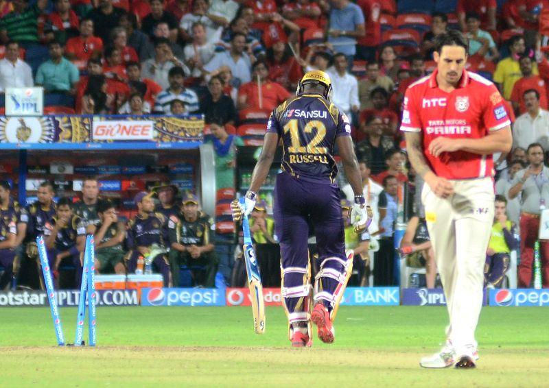 Kings XI Punjab celebrate fall of wicket of AD Russell bowled by Mitchell Johnson during an IPL-2015 match between Kolkata Knight Riders and Kings XI Punjab at Maharashtra Cricket Association ...