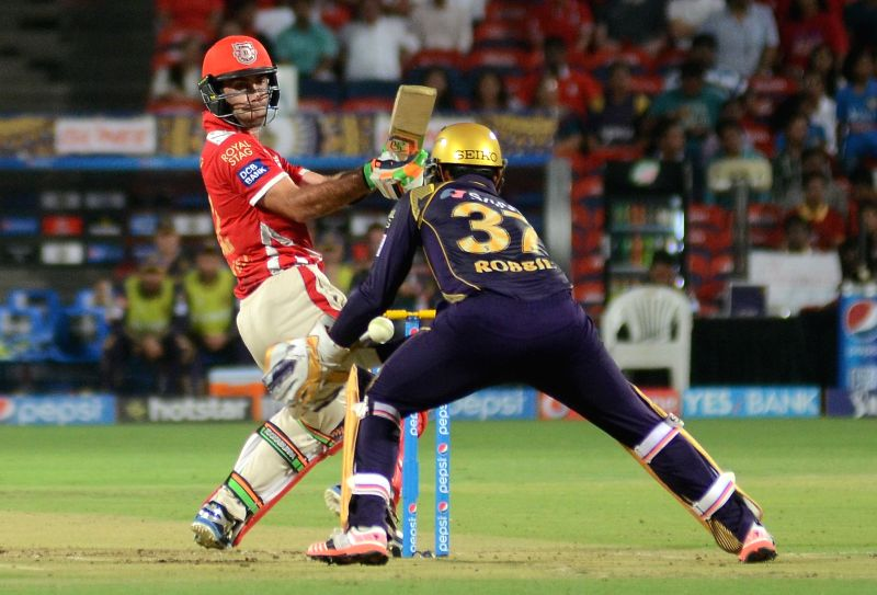 Kings XI Punjab player Glenn Maxwell in action during an IPL-2015 match between Kolkata Knight Riders and Kings XI Punjab at Maharashtra Cricket Association Stadium, in Pune, on April 18, 2015.