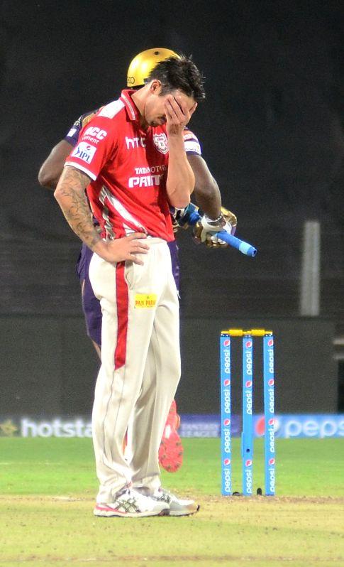 Kings XI Punjab player Mitchell Johnson during an IPL-2015 match between Kolkata Knight Riders and Kings XI Punjab at Maharashtra Cricket Association Stadium, in Pune, on April 18, 2015.