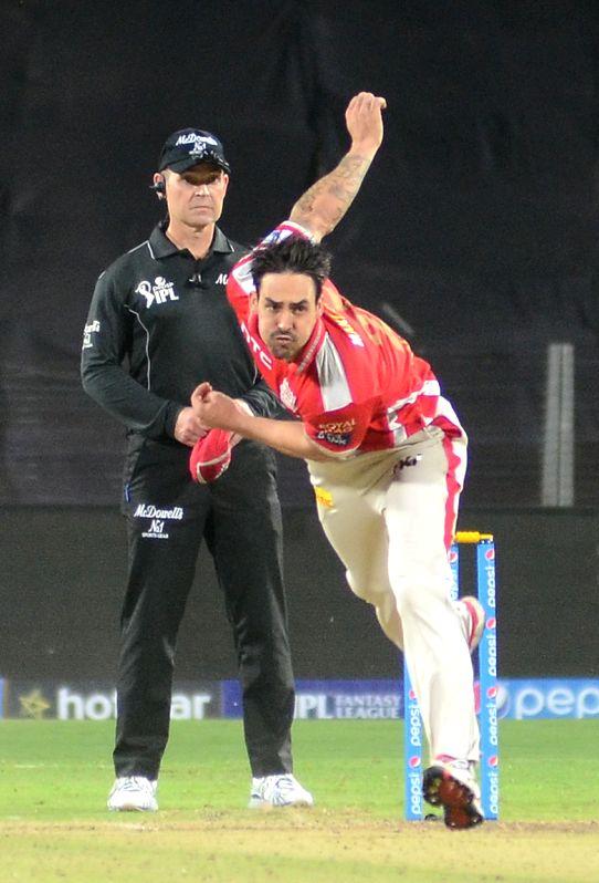 Kings XI Punjab player Mitchell Johnson in action during an IPL-2015 match between Kolkata Knight Riders and Kings XI Punjab at Maharashtra Cricket Association Stadium, in Pune, on April 18, ...