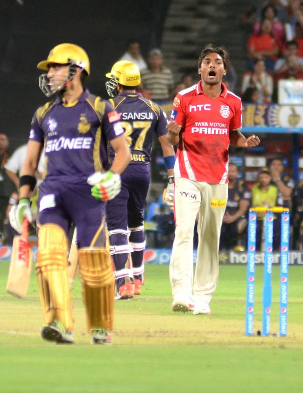 Kings XI Punjab player Sandeep Sharma celebrate fall of a wicket during an IPL-2015 match between Kolkata Knight Riders and Kings XI Punjab at Maharashtra Cricket Association Stadium, in Pune, ... - Sandeep Sharma