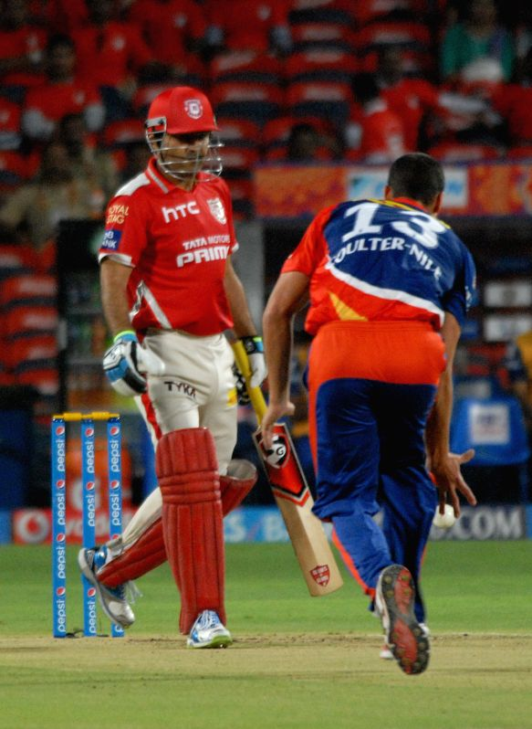 Kings XI Punjab player Virender Sehwag during an IPL-2015 match between Delhi Daredevils and Kings XI Punjab at Maharashtra Cricket Association Stadium, in Pune, on April 15, 2015.