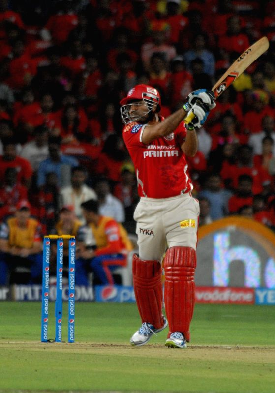 Kings XI Punjab player Virender Sehwag in action during an IPL-2015 match between Delhi Daredevils and Kings XI Punjab at Maharashtra Cricket Association Stadium, in Pune, on April 15, 2015.