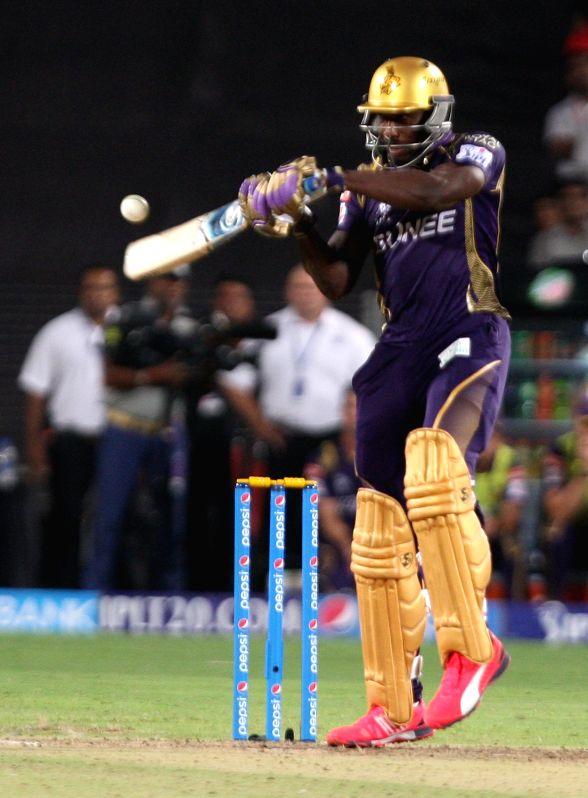 KKR batsman AD Russell in action during an IPL-2015 match between Kolkata Knight Riders and Kings XI Punjab at Maharashtra Cricket Association Stadium, in Pune, on April 18, 2015.