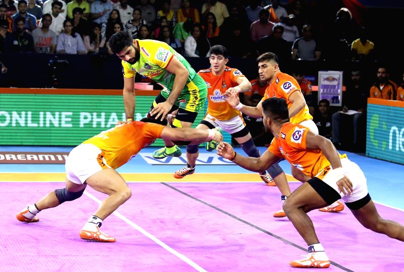 Pune: Players in action during Pro Kabaddi Season 7 match between Puneri Paltan and Patna Pirates at Shree Shiv Chhatrapati Sports Complex in Pune on Sep 15, 2019. (Photo: IANS)