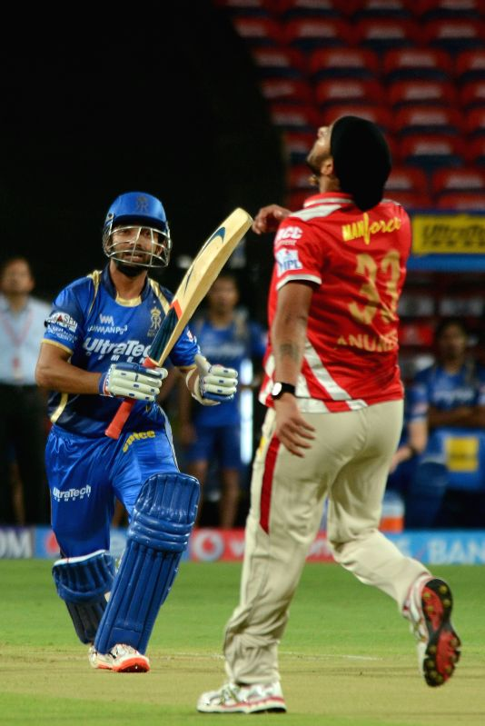 Rajasthan Royals batsman Ajinkya Rahane  during an IPL-2015 match between Rajasthan Royals and Kings XI Punjab at Maharashtra Cricket Association Stadium, in Pune, on April 10, 2015. - Ajinkya Rahane