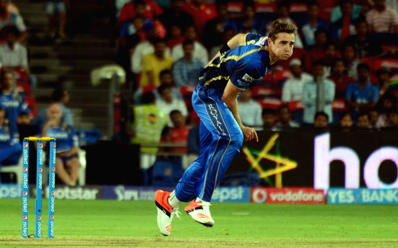 Rajasthan Royals bowler  Tim Southee  in action during an IPL-2015 match between Rajasthan Royals and Kings XI Punjab at Maharashtra Cricket Association Stadium, in Pune, on April 10, 2015. - Tim Southee